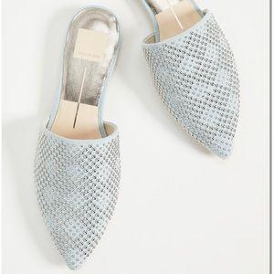 Elvah Silver Studded Mule Flats Light Blue Denim